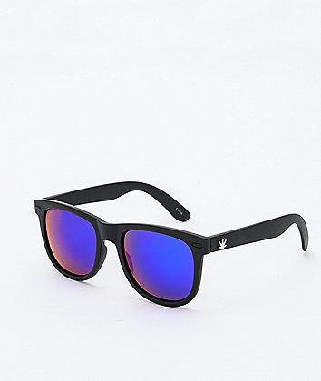 Brushed Black & Blue Revo Wayfarer Sunglasses