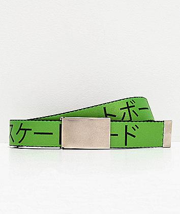 Buckle Down Kanji Green Web Belt