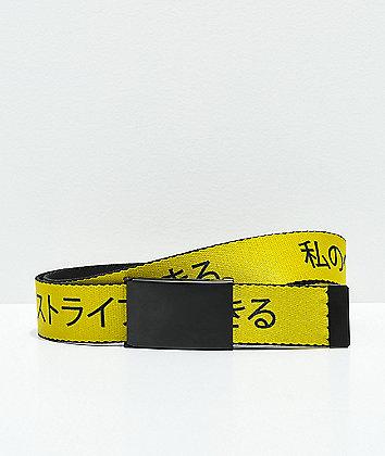 Buckle Down Kanji Yellow & Black Web Belt