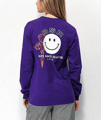 By Samii Ryan No Bad Days Purple Long Sleeve T-Shirt