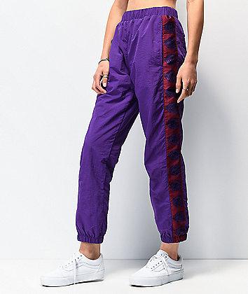 By Samii Ryan Romance Purple Crinkle Track Pants