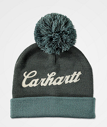 Carhartt Chainstitch Logo Blue & Grey Pom Beanie