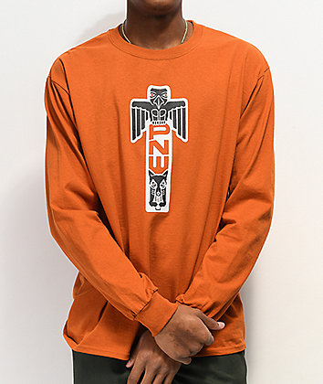 Casual Industrees Totem Knockout Dark Orange Long Sleeve T-Shirt