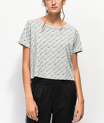 Champion Allover Script Heather Grey Crop T-Shirt