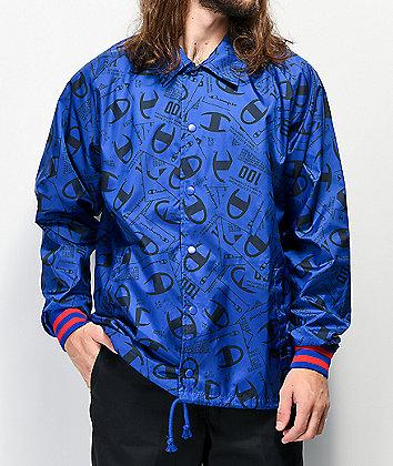 Champion Allover Tag Print Blue Satin Coaches Jacket