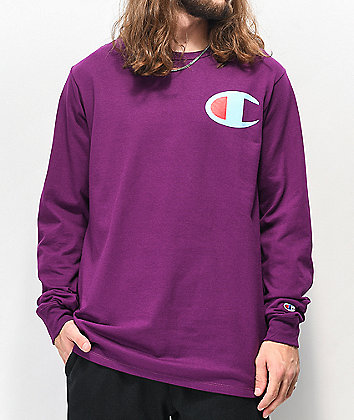 Champion Big C Purple Long Sleeve T-Shirt