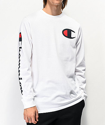 Champion Big C White Long Sleeve T-Shirt