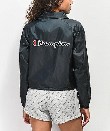 Champion Black Crop Coaches Jacket