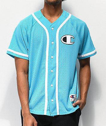 Champion Blue Mesh Baseball Jersey