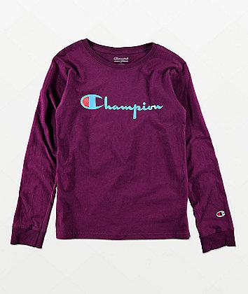 Champion Boys Heritage Purple Long Sleeve T-Shirt