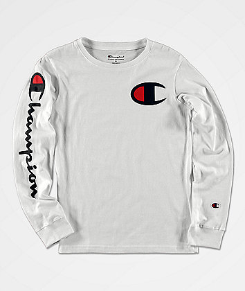 Champion Boys Sleeve Print White Long Sleeve T-Shirt