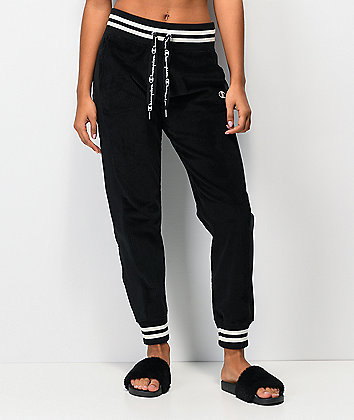 Champion Corduroy Black Jogger Sweatpants