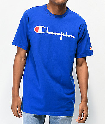 Champion Flock Script Blue & White T-Shirt