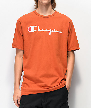 Champion Flock Script Orange T-Shirt