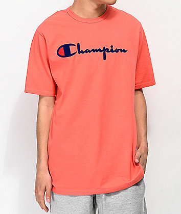 Champion Flock Script Papaya & Blue T-Shirt