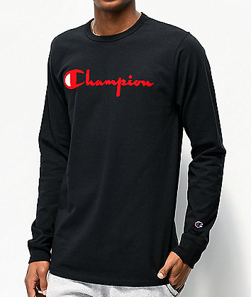 Champion Flock Script Red & Black Long Sleeve T-Shirt