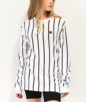 Champion Heritage White, Navy & Red Stripe Long Sleeve T-Shirt