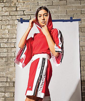 Champion Mesh Red & White Crop Hoodie