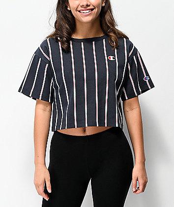 Champion Navy Stripe Crop T-Shirt