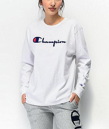 Champion Original Flock White Long Sleeve T-Shirt