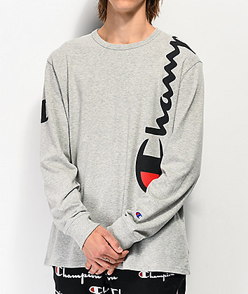 Champion Over Shoulder Oxford Grey Long Sleeve T-Shirt