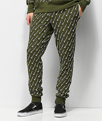 Champion Reverse Weave All Over Print Hiker Green Jogger Sweatpants