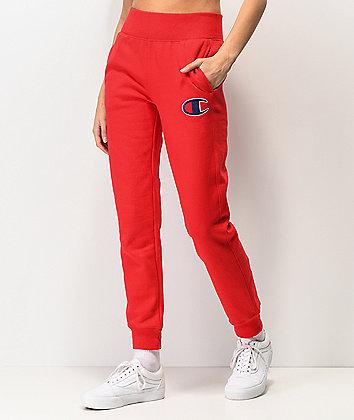 Champion Reverse Weave Big C Logo Red Jogger Sweatpants