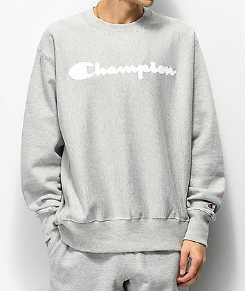 Champion Reverse Weave Mesh & Leather Logo Oxford Grey Crew Neck Sweatshirt