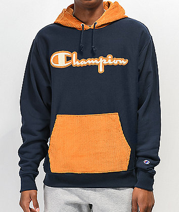 Champion Reverse Weave Navy & Gold Corduroy Hoodie
