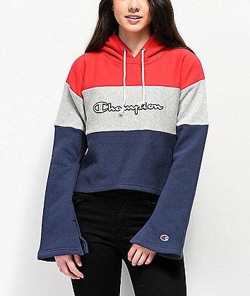 Champion Reverse Weave Red, White & Navy Crop Hoodie
