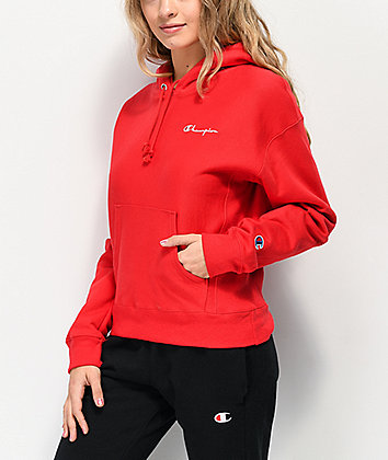 Champion Reverse Weave Red & White Hoodie