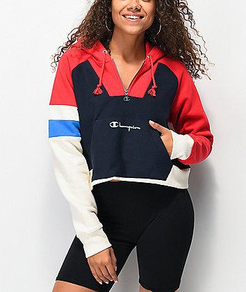 Champion Reverse Weave Red Colorblock Half Zip Crop Hoodie