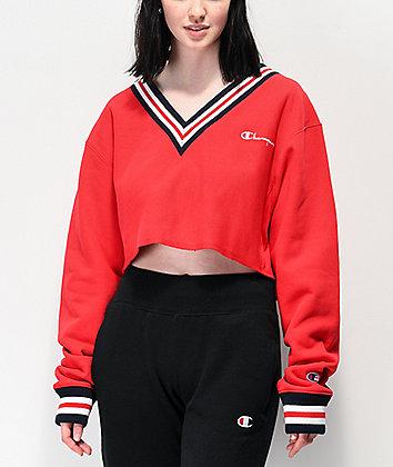Champion Reverse Weave Red Crop V-Neck Sweatshirt