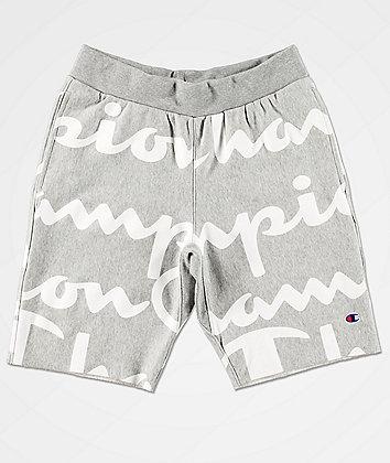 Champion Reverse Weave Script Grey Sweat Shorts