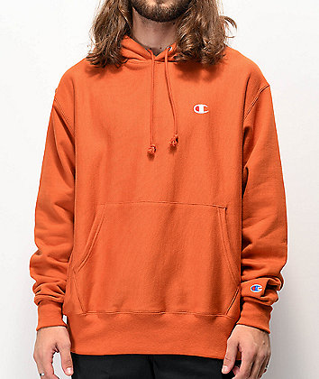 Champion Reverse Weave Small C Burnt Orange Hoodie