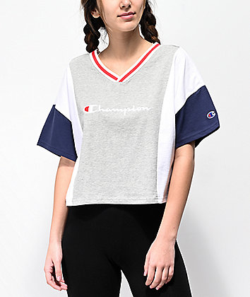 Champion Script Colorblock Grey, Blue & White Crop T-Shirt