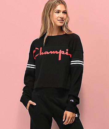 Champion Script Logo Black Crop Long Sleeve T-Shirt