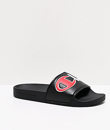 Champion Split Script Black Slide Sandals