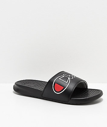 Champion Super Split Script Black Slide Sandals