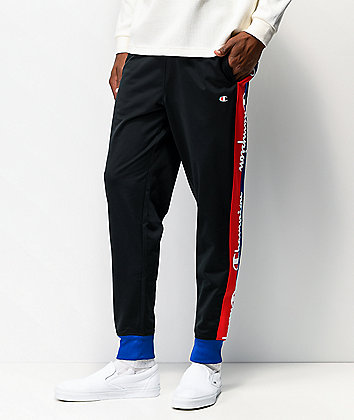 Champion Taped Black Tricot Track Pants