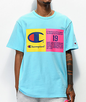 Champion Two Tone Jock Tag Blue T-Shirt