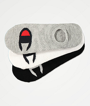 Champion Women's Big C Grey, White & Black 3 Pack No Show Socks