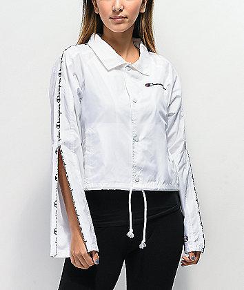 Champion Zipper Tape White Crop Coaches Jacket