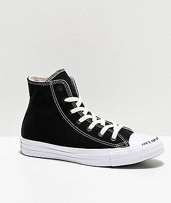 Converse CTAS HI Renew Black & White Skate Shoes
