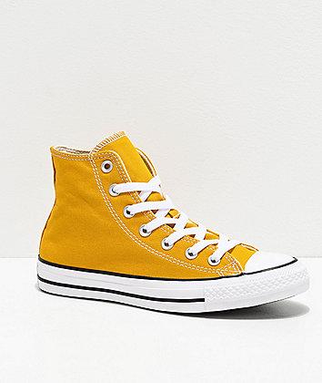 Converse CTAS Hi Gold & White Shoes