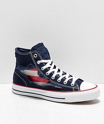 Converse CTAS Hi Rip-Through American Flag Obsidian & White Skate Shoes