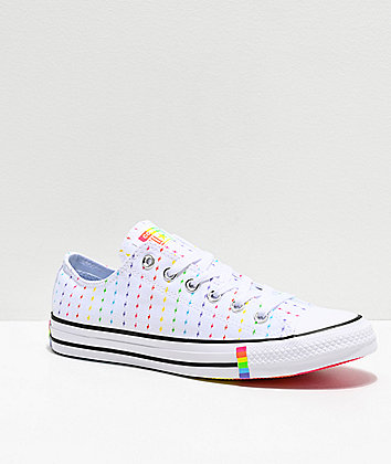 Converse CTAS Pride Ox White, Black & Rainbow Shoes
