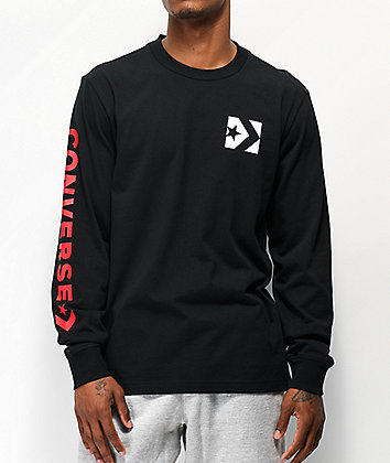 Converse Repeated Star Chevron Black Long Sleeve T-Shirt