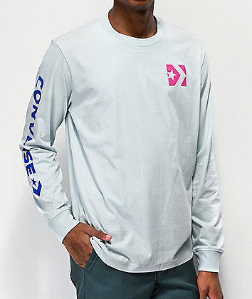 Converse Wordmark Light Blue Long Sleeve T-Shirt