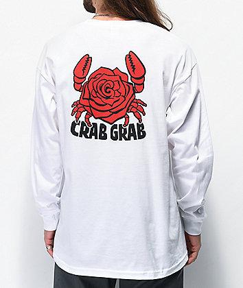Crab Grab Crab Rose White Long Sleeve T-Shirt